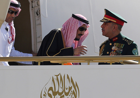 Saudi Arabia's King Salman bin Abdulaziz al-Saud steps out of his airplane