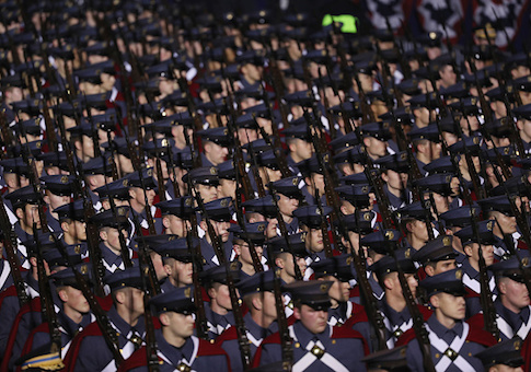 Virginia Military Institute troops march during the Inaugural Parade on Jan. 20
