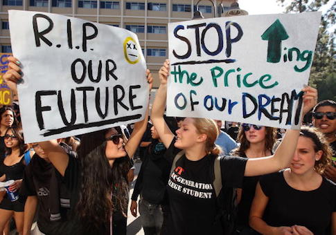 University of California Los Angeles (UCLA) students supporters protest a tuition hike