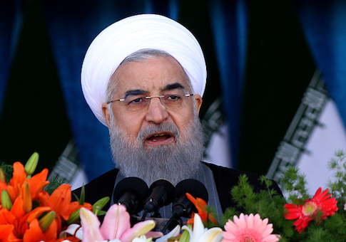 Iranian President Hassan Rouhani delivers a speech during a parade on the country's Army Day