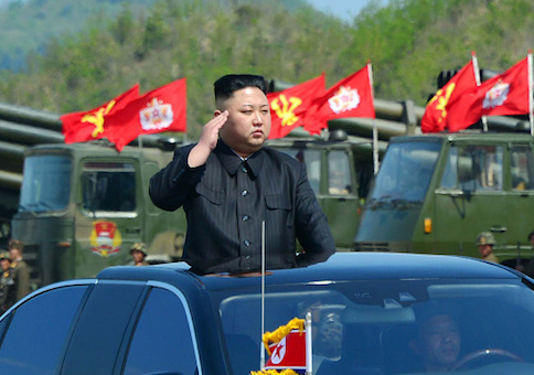 This undated picture released by North Korea's official Korean Central News Agency (KCNA) on April 26, 2017 shows North Korean leader Kim Jong-Un attending the combined fire demonstration of the services of the Korean People's Army in celebration