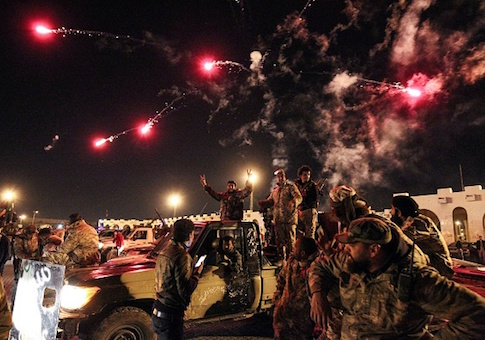 Libyans take part in a celebration with fireworks marking the sixth anniversary of the Libyan revolution