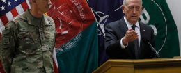US Defense Secretary James Mattis and US Army General John Nicholson, commander of U.S. forces in Afghanistan