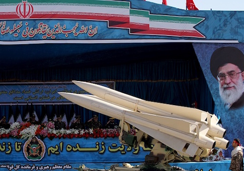 An Iranian military truck carries a US made Hawk air defence missile system from the Shah era during a parade on the occasion of the country's Army Day, on April 18