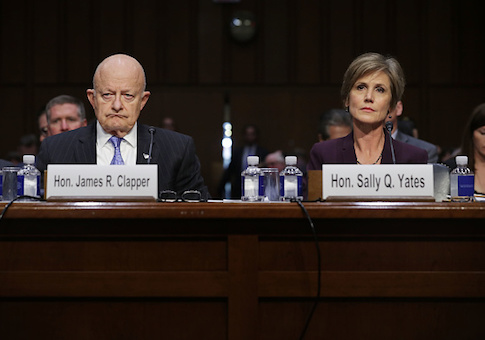 Former director of national intelligence James Clapper and former U.S. deputy attorney general Sally Yates testify before the Senate Judiciary Committee's Subcommittee on Crime and Terrorism