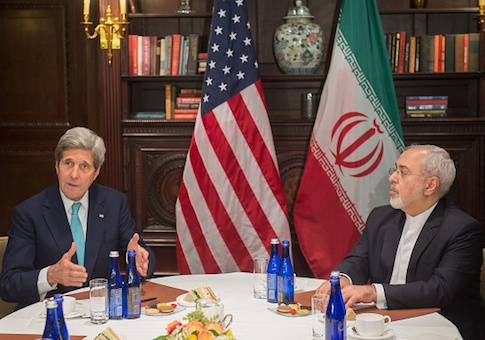 US Secretary of State John Kerry meets with Iran's Foreign Minister Mohammad Javad Zarif on April 22, 2016