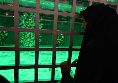 An Iranian woman visits the shrine of the founder of Iran's Islamic Republic, Ayatollah Ruhollah Khomeini