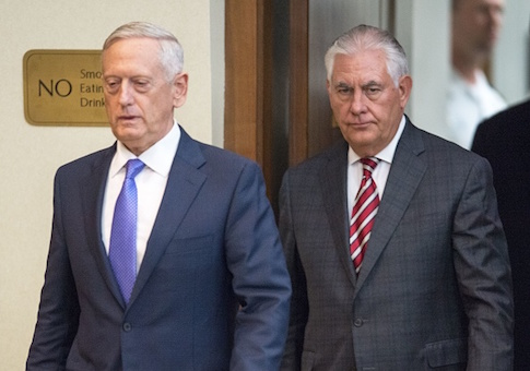US Secretary of Defense Jim Mattis is followed by US Secretary of State Rex Tillerson to conduct a two question press conference after meeting with Chinese State Councilor Yang Jiechi, and Chief of the People's Liberation Army Joint Staff Department General Fang Fenghui