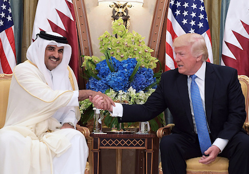 President Donald Trump and Qatar's Emir Sheikh Tamim Bin Hamad Al-Thani