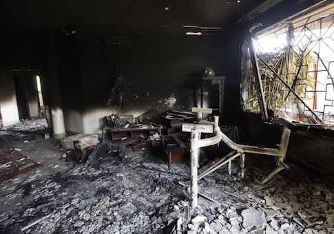 A picture shows the interior of the burnt US consulate building in the eastern Libyan city of Benghazi on September 13, 2012