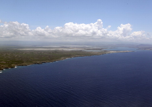 A view from the plane carrying nearly 60 journalists headed for the U.S. Navy base in Guantanamo Bay, Cuba