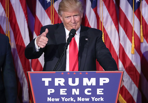 Donald Trump gives his acceptance speech at his election night event at the New York Hilton Midtown in the early morning hours of November 9, 2016