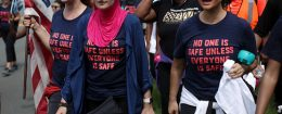 Activist Linda Sarsour and fellow gun-control activists participate in a march beginning at the headquarters of National Rifle Association