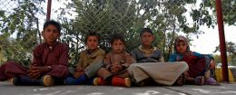 Yemeni children sit at Sabaeen Hospital in Sanaa, where cholera-infected patients are receiving treatment