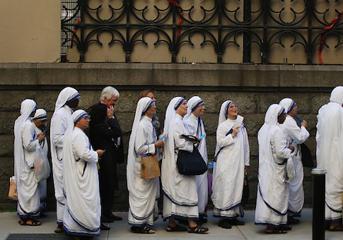 A group of nuns arrive at St. Patrick's Cathedral