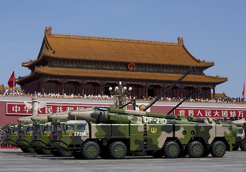 Chinese military vehicles carrying DF-21D anti-ship ballistic missiles