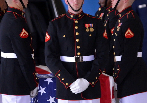 U.S. Marines during the transfer of remains ceremony / Getty Images