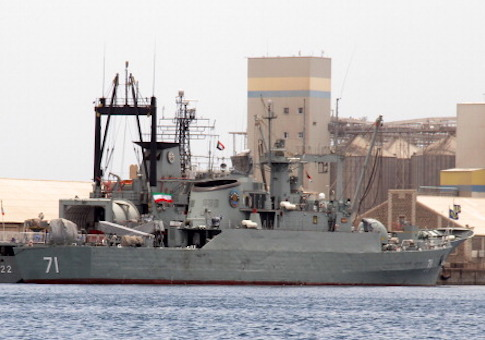 Iranian military ship and light replenishment ship are seen docked for refueling