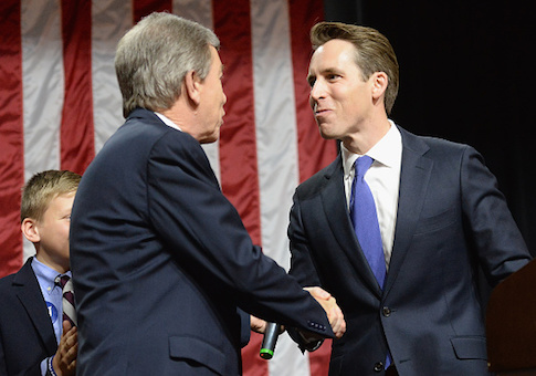 Senator Roy Blunt greets Missouri Attorney General Josh Hawley