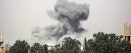 Smoke billows in Raqa's western al-Darya neighborhood