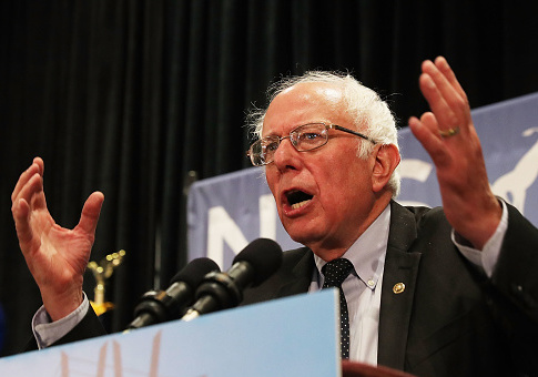 Senator Bernie Sanders addresses the New York delegation at the Democratic National Convention (DNC) on July 26, 2016 in Philadelphia, Pennsylvania / Getty Images