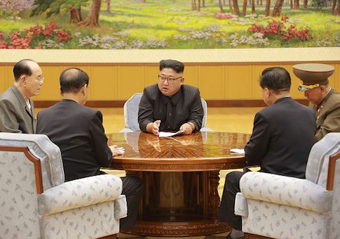 North Korean leader Kim Jong-Un attends a meeting with a committee of the Workers' Party of Korea about the test of a hydrogen bomb