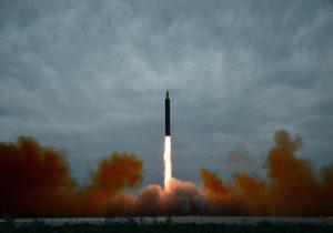 North Korea's intermediate-range strategic ballistic rocket Hwasong-12 lifts off