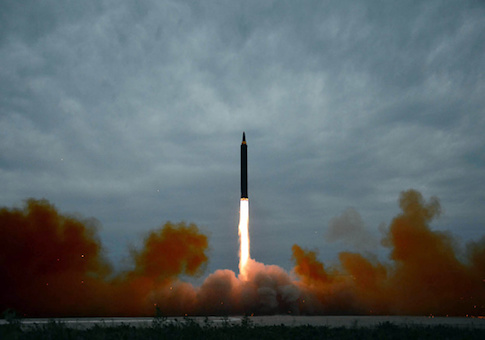 North Korea's intermediate-range strategic ballistic rocket Hwasong-12 lifts off