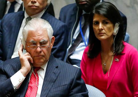 Secretary of State Rex Tillerson and Ambassador to the UN Nikki Haley