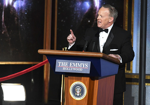 Former White House Press Secretary Sean Spicer speaks onstage during the 69th Annual Primetime Emmy Awards (Photo by Kevin Winter/Getty Images)
