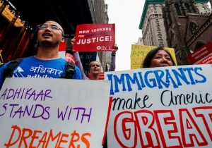 Protesters shout during a demonstration in support of the Deferred Action for Childhood Arrivals