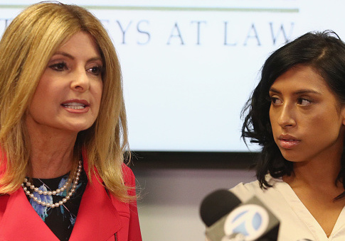 Lisa Bloom (L), lawyer for Montia Sabbag, speaks regarding the alleged attack on her client's character after accusations that Sabbag attempted to extort comedian Kevin Hart during a press conference held at The Bloom Firm September 20, 2017 in Woodland Hills, California. The scandal stems from a provocative video taken in Las Vegas last month where both Hart and Sabbag are seen. (Photo by Frederick M. Brown/Getty Images)