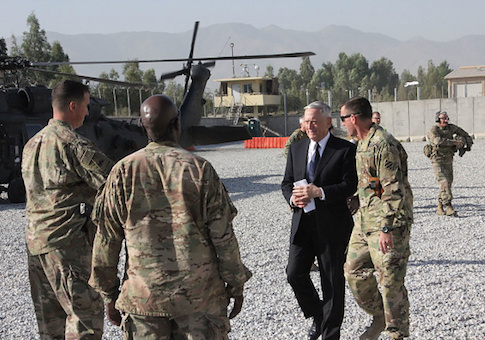 US Defense Secretary Jim Mattis arrives at Forward Operating Base Gamberi east of Kabul, Afghanistan