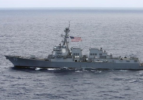 USS Chafee, a US Navy destroyer which operates 100 percent on biofuel, sails about 150 miles north of the island of Oahu during the RIMPAC Naval exercises off Hawaii