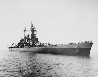 The battleship USS North Carolina enters New York Harbor after deployment in the Pacific theater