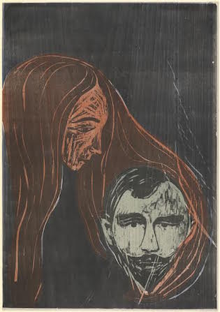 Man's Head in Woman's Hair by Edvard Munch, 1896 / National Gallery of Art, Washington, Rosenwald Collection