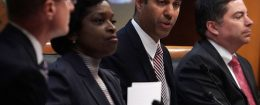 Federal Communications Commission Chairman Ajit Pai speaks as commission members listen during a commission meeting