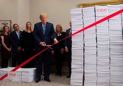 The administration has cut 22 regulations for every new rule introduced, President Donald Trump announced at the White House Thursday.