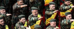 Members of Lebanon's Shiite Hezbollah movement salute