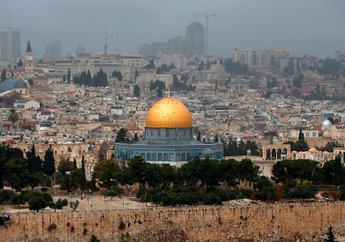 A picture taken from the Mount of Olives shows the Old City of Jerusalem with the Dome of the Rock mosque in the centre