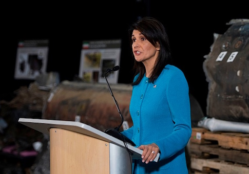 US Ambassador to the United Nations Nikki Haley unveils previously classified information intending to prove Iran violated UNSCR 2231 by providing the Houthi rebels in Yemen with arms