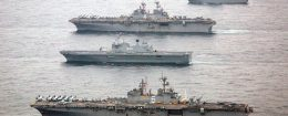 The U.S. Navy amphibious assault ships USS Bonhomme Richard and USS Boxer