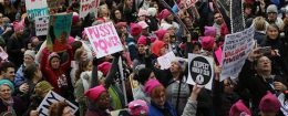 Protesters march during the Women's March on Washington