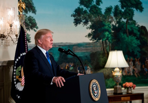 Donald Trump speaks about the Iran deal from the Diplomatic Reception room of the White House