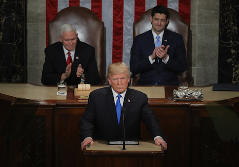 President Donald J. Trump delivers the State of the Union address as U.S. Vice President Mike Pence and Speaker of the House Paul Ryan look on