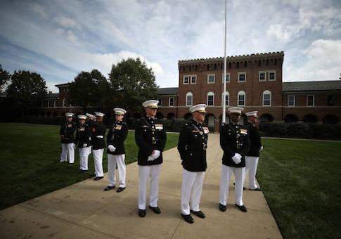 U.S. Marines participate in a ceremony