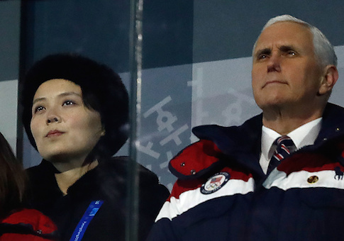 Vice President Mike Pence and North Korea's Kim Jong Un's sister Kim Yo Jong attend the opening ceremony of the Pyeongchang 2018 Winter Olympic Games