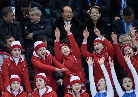 North Korean cheerleaders performs before Kim Yo Jong