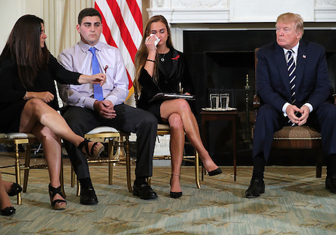 President Donald Trump hosts a listening session with Marjory Stoneman Douglas High School shooting survivors