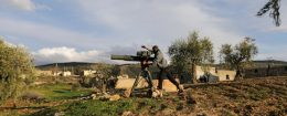 Turkish-backed Free Syrian Army fighter uses a TOW anti-tank missile north of the city of Afrin, Syria